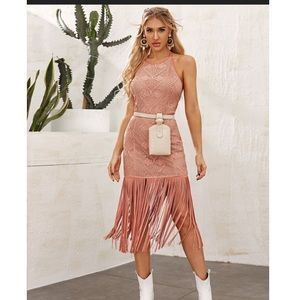 New Shein halterneck fringe and lace dress